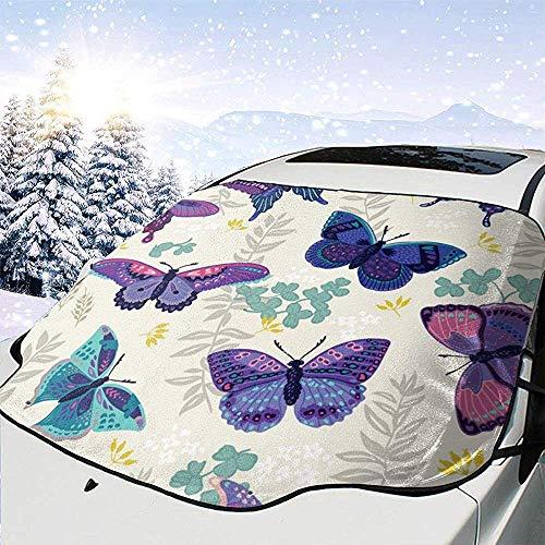 Viola blu farfalla anteriore auto parabrezza copertura neve copertura pieghevole antivento finestra anteriore parasole paralume automatico adatto per la maggior parte delle auto,147 * 118 cm