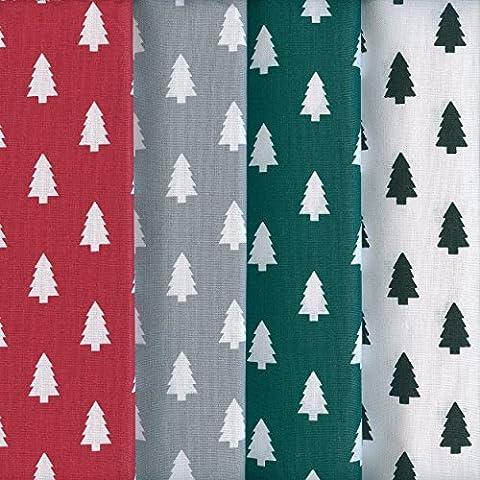 Textiles français Stoffpak - 4 Coupons Tissus Arbres de Noël | 100% coton | 40 cm x 50 cm chacun