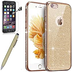 Coque iPhone 6,Coque iPhone 6S,ikasus Strass bling diamond cristal Sparkle glitter paillettes Clear Transparent Silicone Gel TPU Cadre Brilliant Chromé Case Coque Housse Etui pour iPhone 6S/6,Gold