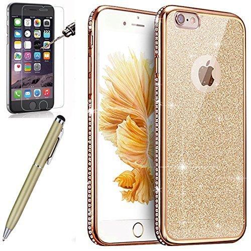 Kompatibel mit iPhone 6S Hülle,iPhone 6 Hülle,[Hartglas Schutzfolie Stylus] Strass Diamant Bling Glitzer Überzug TPU Silikon Hülle Tasche Silikon Case Durchsichtig Schutzhülle für iPhone 6/6S,Gold Design-diamant Bling