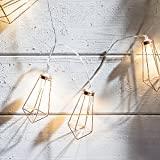 Lights4fun 20er LED Diamant Lichterkette rosé Gold - Kupfer warmweiß Timer