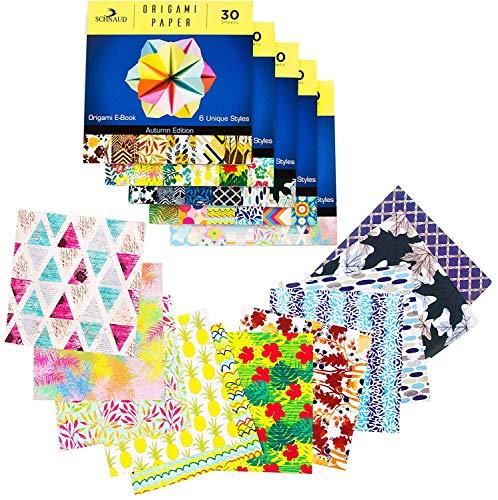 Origami Papier Set - Faltpapier 150 Faltblätter 15x15 - Origami Set mit E-Book, Bastelpapier quadratisch mit wunderschönen Mustern, Buntes Papier zum Basteln, Origami Papier, Japanisches Papier