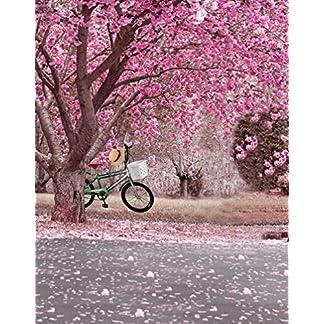 A.Monamour Rosa Romántico Flores De Cerezo Flores Árboles Calle Avenida Paisaje Fotografía Telones De Fondo 5X7Ft Vinilo Tela