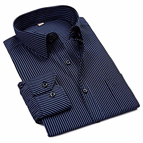 Men's Turn Down Collar Portable Charming Casual Shirt Dark Blue