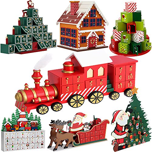 Calendrier de l'Avent Noël 'locomotive' en bois avec tiroirs à remplir soi-même Décoration de noël originale