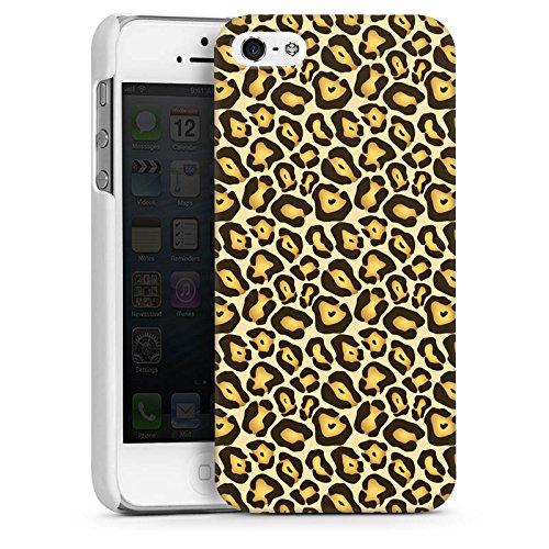 Apple iPhone 5 Housse Étui Silicone Coque Protection Jungle Animal Print Motif Motif CasDur blanc