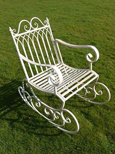 Stile Vintage, colore: bianco anticato, Sedia a dondolo da giardino, metallo invecchiato