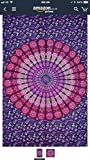 Purple Theme Feather Peacock Twin Mandala Tapestry Wall Hanging By Raajsee,Indian Cotton Boho Bohemian hippie Elephant Peacock Dorm Decor Hippy Bedspread Tapestries,meditation yoga beach mat rug throw (Twin (140 x 220 cms /54 X 84 inches))