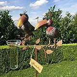 Pluviómetro Pájaros Multicolor de metal jardín decoración jardín conector hecha a mano