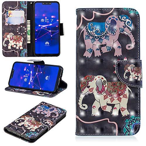 Ooboom Huawei Mate 20 Lite Hülle 3D Magnetische Flip PU Leder Schutzhülle Handy Tasche Case Protection Cover mit Kreditkarte Halter für Huawei Mate 20 Lite - Elefant