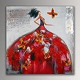ADM Frau mit Schmetterlingen figurativ acryl Moderne gemälde auf leinwand Druck von Hand dekoriert AS363X1