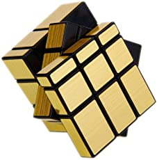 Emob 3x3 Brain TeaserTwisting Mirror Magic Rubik Cube Puzzle Toy (Gold)