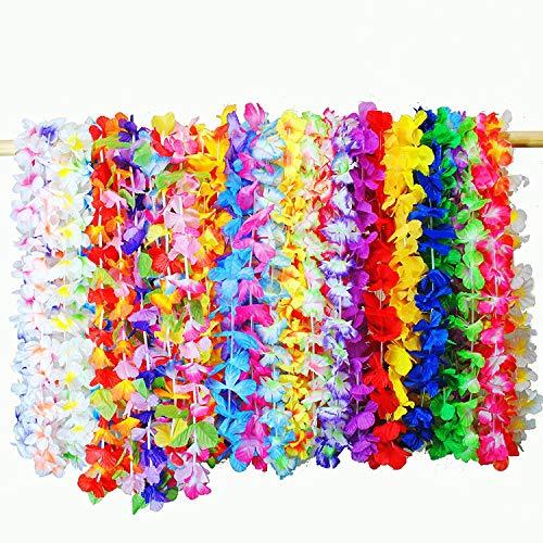 aiikette 36 stück Bunte Hawaiianische Lei Luau Blumen Ketten für Kleid Party Favors Strand und Themenbezogenen Geburtstage ()