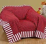 Homescapes Dekorativer Überwurf Polka Dots rot 150 x 200 cm für Sofa oder Bett Tagesdecke Plaid aus 100% reiner Baumwolle