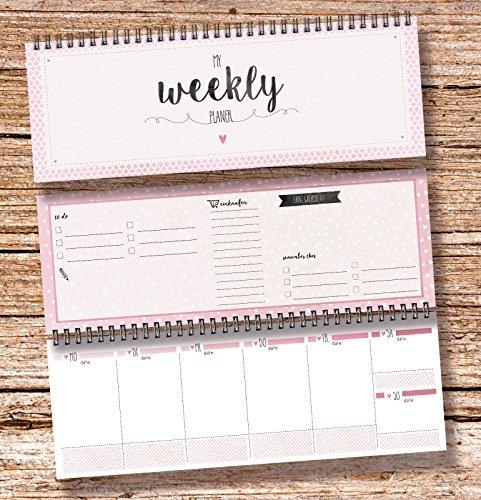 """""""My Weekly Planer rosa"""" Tischkalender / Wochenplaner im Quer Format / 52 Wochen, 1 Woche auf 2 Seiten / Ohne Datum für 365 Tage / Wochenkalender 2017 To do Liste Einkaufsliste Jahresübersicht"""