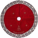 Valery Madelyn 106cm Weihnachten nordisch Rot und Grau Leinen Karo Weihnachtsbaum Rock mit Stickerei und Perlen,Themen mit Deko (nicht inkl.)
