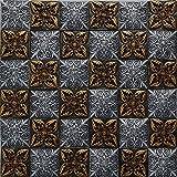 Wunderschöne gold Muster Küche Backsplash Harz Mosaik-Fliesen, dunkler Innenwand Dekoration Aufkleber, LSRN05 (300x300mm/Stück)