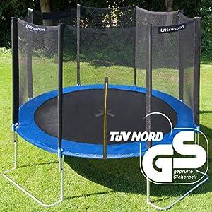 Ultrasport Jumper Trampolino da giardino con con accessori inclusi,peso fino a 160kg, Blu, Ø 305 cm