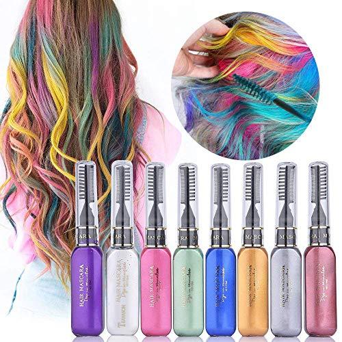 Temporäre Hair Chalk,Haarkreide-Set,8 Farben Farbstoff Mascara Mascara, perfektes Geschenk für Mädchen Kinder Frauen -