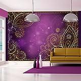 murando - Fototapete 350x245 cm - Vlies Tapete - Moderne Wanddeko - Design Tapete - Wandtapete - Wand Dekoration - Orient Ornament violett gold bokeh f-A-0146-a-c