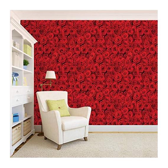 100Yellow? Pvc Vinyl Red Roses Pattern Self Adhesive Peel & Stick Waterproof Hd Wallpaper, 44Sqft (Multicolour)