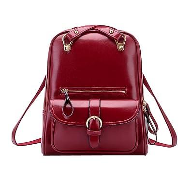 af2ed5b69f INAEONG Donne Casuale Elegante Solido Colore Preppy Stile Zaini Vino Rosso:  Amazon.it: Scarpe e borse