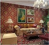 Yosot Retro Damaskus 3D Relief Vliestapeten Wohnzimmer Schlafzimmer Hintergrund Wand Tapete Dunkle Rot