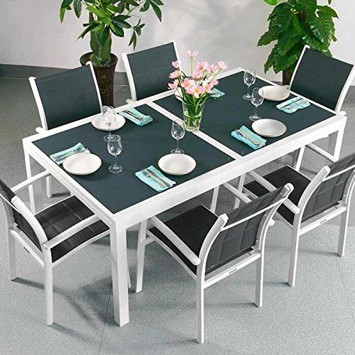 Table Florence et 6 chaises Georgia - BLANC & GRIS | Table extensible 240cm pour l'intérieur et l'extérieur