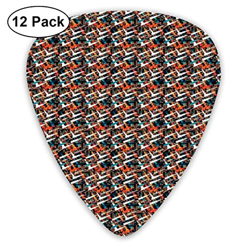 Diagonal Dots (Guitar Picks 12-Pack,Warm Colored Brush Marks With Dots Pattern Diagonal Stripes On A Dark Backdrop)