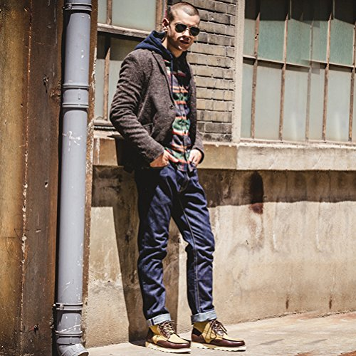 SERENE Fashion Cowboy Stiefel Middle Cut Casual Stiefel für Männer - Denim & Leder - Blau, Schwarz Braun