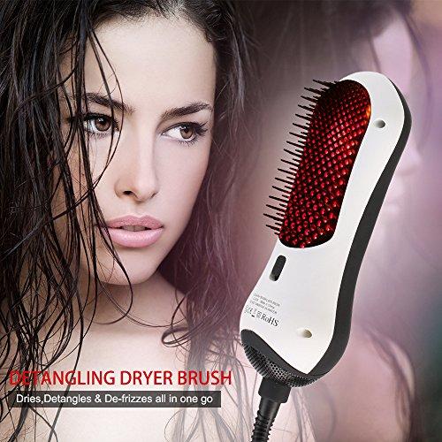 Secador de pelo portátil 2 en 1 rizador y alisador Mini Peine de pelo infrarrojo cuidado alisadores profesional de doble voltaje multifuncional secador de pelo