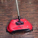 Drago Fiamma pigro 3 in 1 di pulizia della famiglia mano Spingere automatico Sweeper Broom - Compreso Broom & Paletta e cestino - Cleaner senza elettricità Ambientale (rosso)