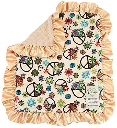 My Blankee Peace Flower Minky Beige W/Minky Dot Latte Baby Decke, 35,6x 43,2cm