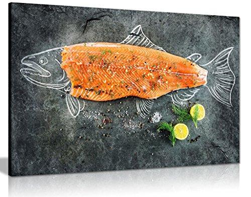 frischen Fisch Lachs Fischschere Leinwand Kunstdruck Bild, A0 91x61cm (36x24in)