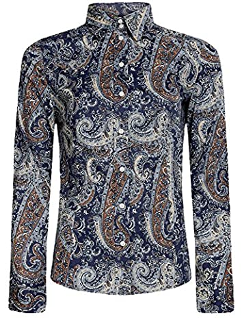 oodji Collection Damen Druckhemd mit Paisley-Muster, Blau, DE 40 / EU 42 / L