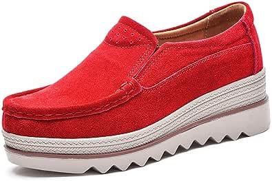 Mocassini Donna in Pelle Scamosciata Moda Comode Loafers Scarpe da Guida Ginnastica con Zeppa 5 cm Estivi Nero Blu Cachi 35-42