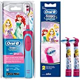 SPAR-SET: 1 Braun Oral-B Stages Power AdvancePower Kids 900TX elektrische Akku-Zahnbuerste Kinder 3 J. (D12.513.K) Disney Prinzessin Cinderella und 2er Stages Aufsteckbuersten Princess