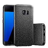 Coovertify Funda Purpurina Brillante Negra Samsung S7 Edge, Carcasa...