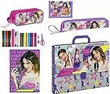 Disney Violetta Koffer, Federmäppchen, Flötentasche, Block und Geldbörse, grau