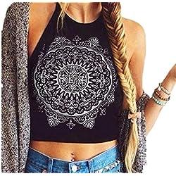 Camiseta corta de Mandala sin mangas. La blusa blanca y negra para mujer más barata. Disponible en 2 colores.