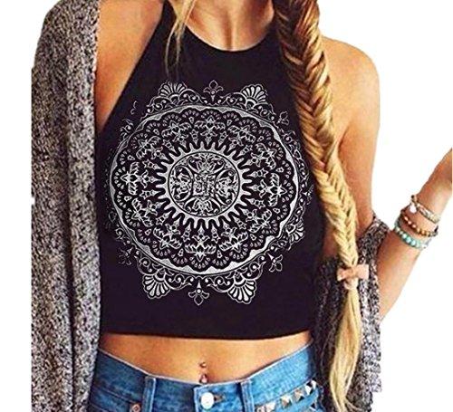 Culater® Mujeres Mandala de impresión sin Mangas del Cuello del Halter del Tanque de Cultivos Tops del Chaleco de la Blusa de la Camiseta (S, Black)