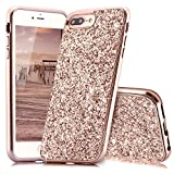 Slynmax Coque iPhone 8 Plus Or Rose,Coque iPhone 7 Plus, Silicone Paillette Strass Brillante Bling Glitter de Luxe Bumper Housse Etui de Protection Ultra Fin [Anti Choc] + 1 * Noir Stylo - Glamour