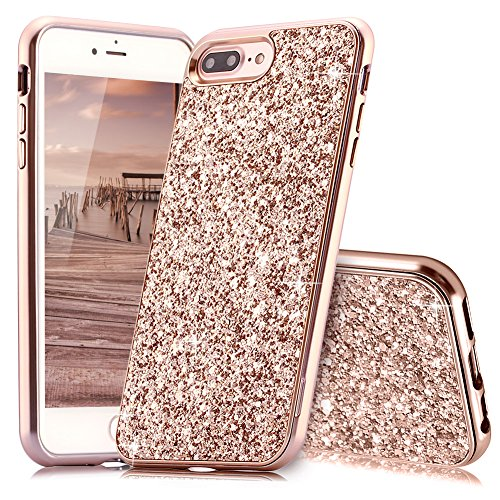 Bling Cover Case (HUDDU iPhone 7 Plus Hülle Glitzer iPhone 8 Plus Handyhülle Bling Glitter Case Hart PC Bumper Hard Back Cover Ultra Dünn Abdeckung Sparkles Mädchen Schutzhülle für iPhone 8 Plus - Rosegold)