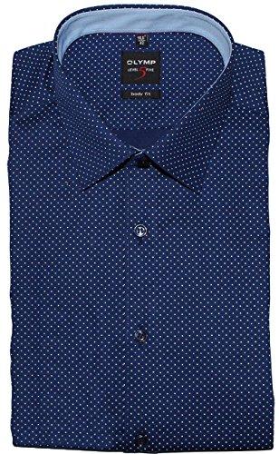 OLYMP Luxor Comfort Fit Hemd Langarm Muster Dunkelblau 8Z