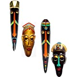 Hand Art Handcrafted Home Decorative Terracotta Wall Hanging Tribal Egyptian Mask (Multicolour, 25.5 cm) -Combo of 4 Pieces
