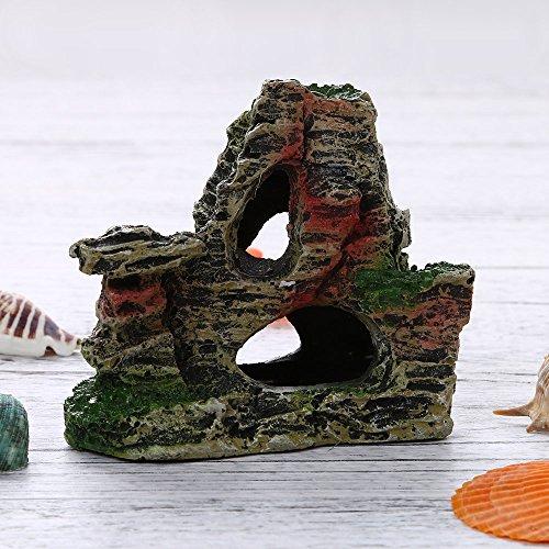 Berrose-1 Stück Berg Aussicht Aquarium Steingarten Höhlenbaum verstecken Aquarium Ornament Dekoration-Aquarium Dekoration, Wohnaccessoires (11 cm * 9,5 cm * 5,5 cm, B)