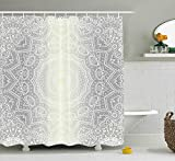 JIMMY MONTGOMERY Grey and White Shower Curtain, Ritual Icon of Ethnic Culture Magic Mandala Circle Ombre Art of Cosmos Print, Fabric Bathroom Decor Set with Hooks, 84 inches Extra Long, Grey White