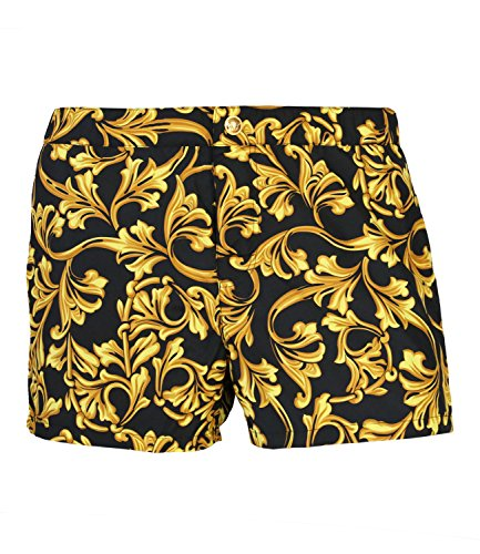 Für Männer Boxer Versace (Versace Herren Badeshorts Badehose Short Boxer Mare Uomo, Farbe:Mehrfarbig, Wäschegröße:M, Artikel:-A732 nero-oro)