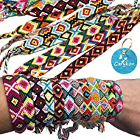 Carykon Pack of 12 Geometric Patterns Nepal Woven Friendship Bracelets (Geometric)