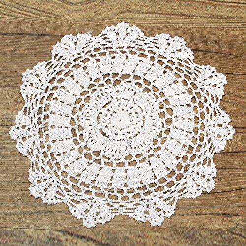 KING DO WAY Napperon Dentelle Crochet Rond En Coton Décor Table Cuisine Hand Crocheted Doily 30cm Blanc